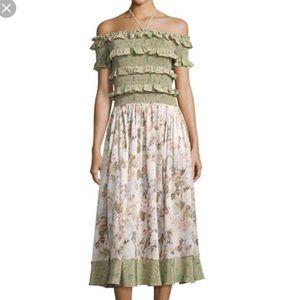 Rebecca Taylor Off-The-Shoulder Mixed Print Dress